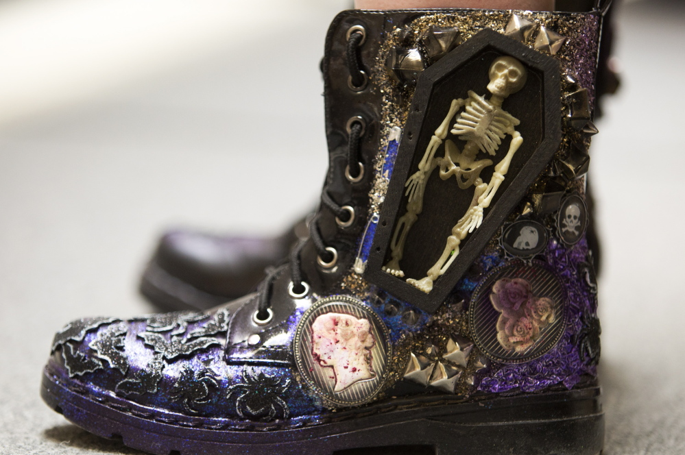 MacKenzie Perkins of Windham sported an unusually detailed boot at the fashion show.