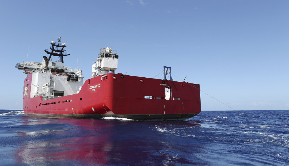 The Australian Defense vessel Ocean Shield tows a pinger locator in the search for the missing flight data recorder and cockpit voice recorder of Malaysia Airlines Flight MH370 in the southern Indian Ocean.