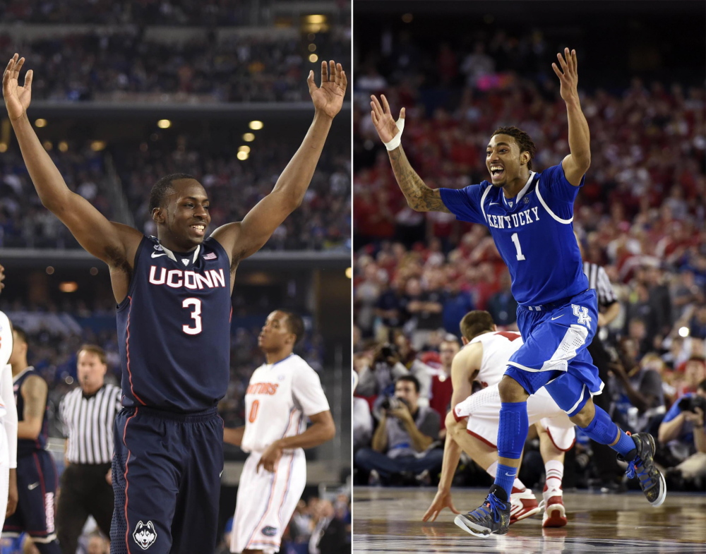 Connecticut and guard Terrence Samuel (3) match up against Kentucky and guard/forward James Young in tonight's NCAA men's basketball championship game.