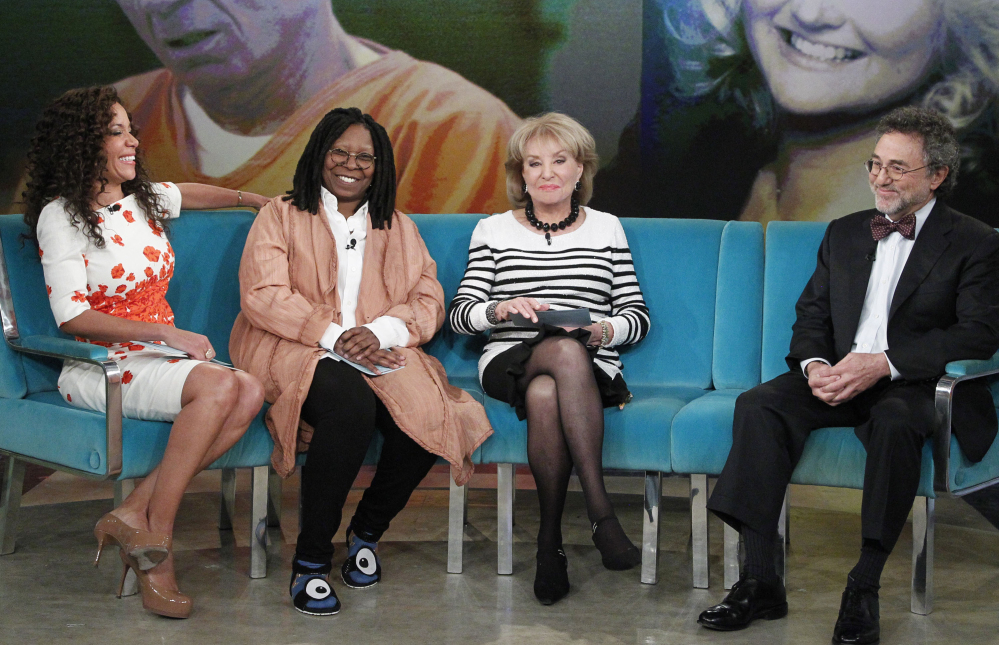 "From left, guest co-host attorney Sunny Hostin, co-host Whoopi Goldberg, Barbara Walters and attorney Gerald Schwartzbach appear on ""The View"" last month. Walters' last day on the show will be May 16."