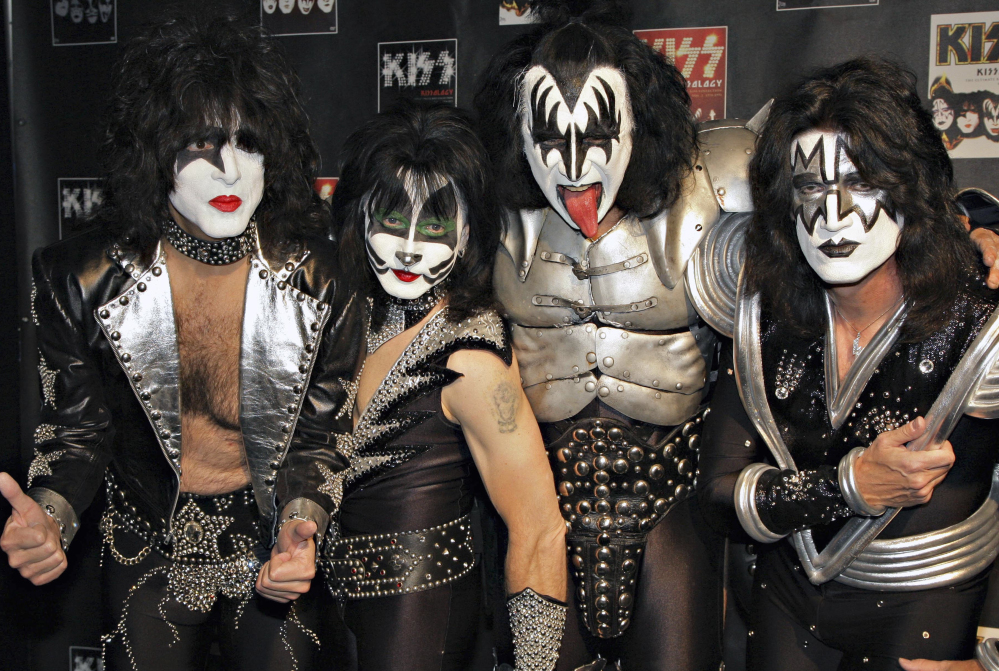 Members of Kiss, from left, Paul Stanley, Eric Singer, Gene Simmons and Tommy Thayer pose for a photo in 2008.