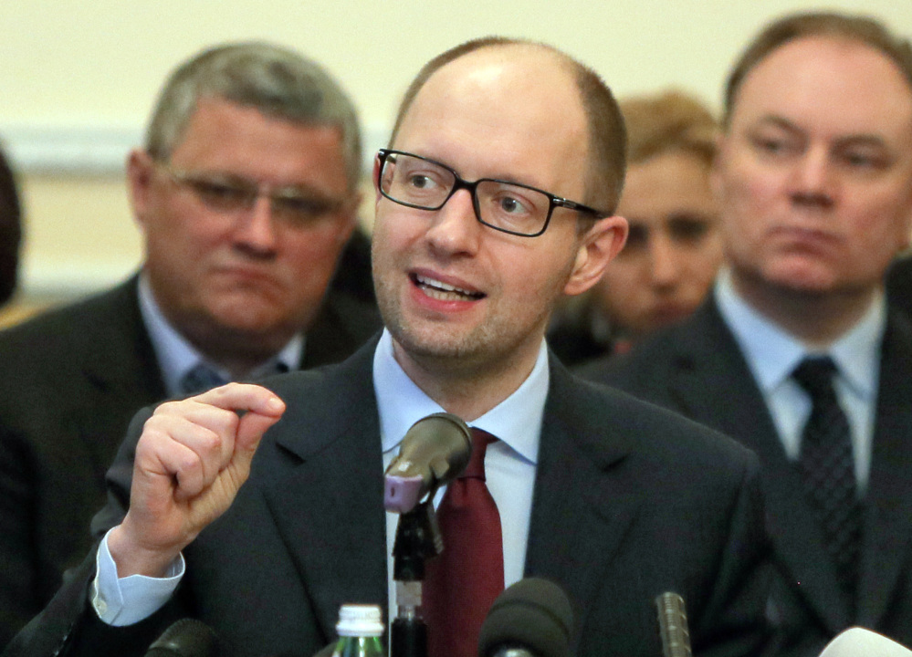 Prime Minister Arseniy Yatsenyuk speaks Friday in Donetsk, Ukraine.