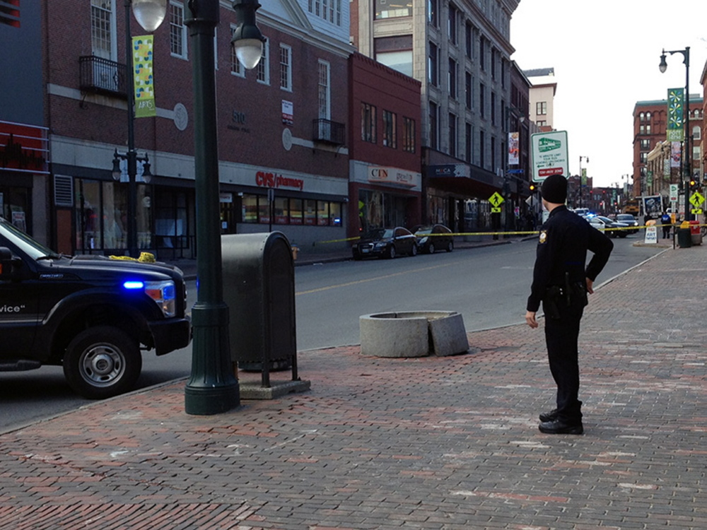 Police blocked off Congress Street between Casco and Brown streets Friday morning after a robbery and bomb threat at the CVS drugstore. The road was reopened by 12:30 p.m.