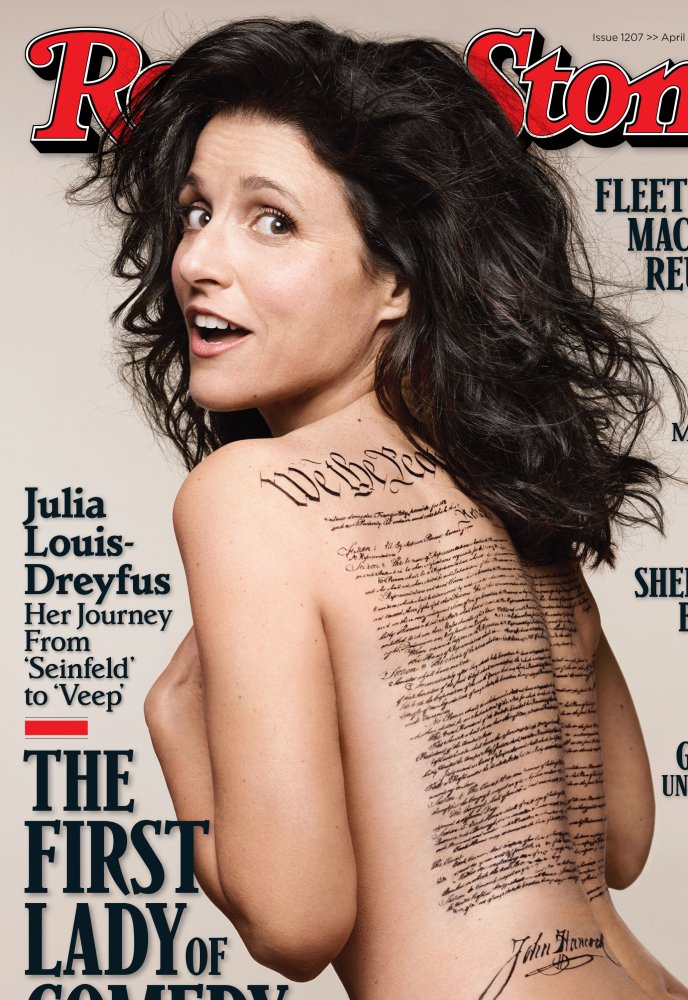 This photo shows the cover of the April 24 issue of Rolling Stone magazine featuring Julia Louis-Dreyfus, photographed by Mark Seliger.
