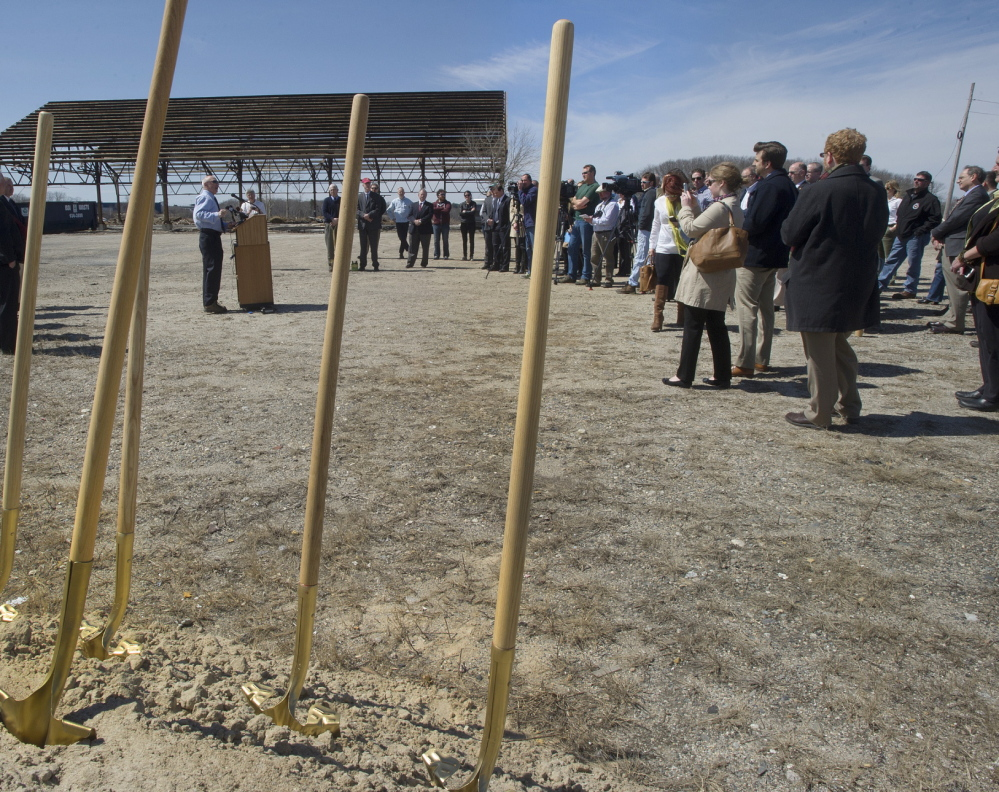 City, state and federal officials joined representatives from the Thompson Point Development Co. on Friday to break ground on infrastructure improvements.