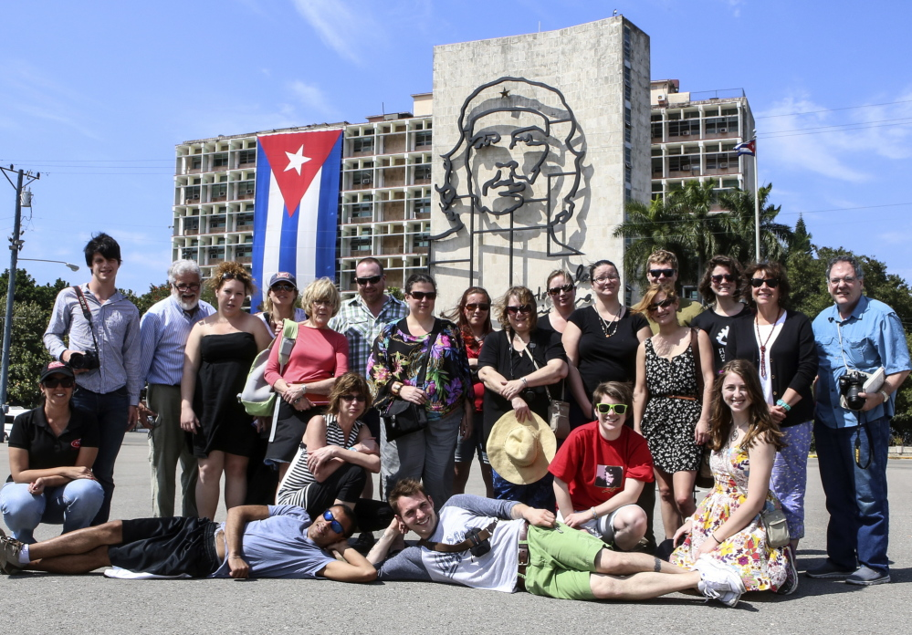 University of Maine at Augusta students pose in Havana's Revolution Square.