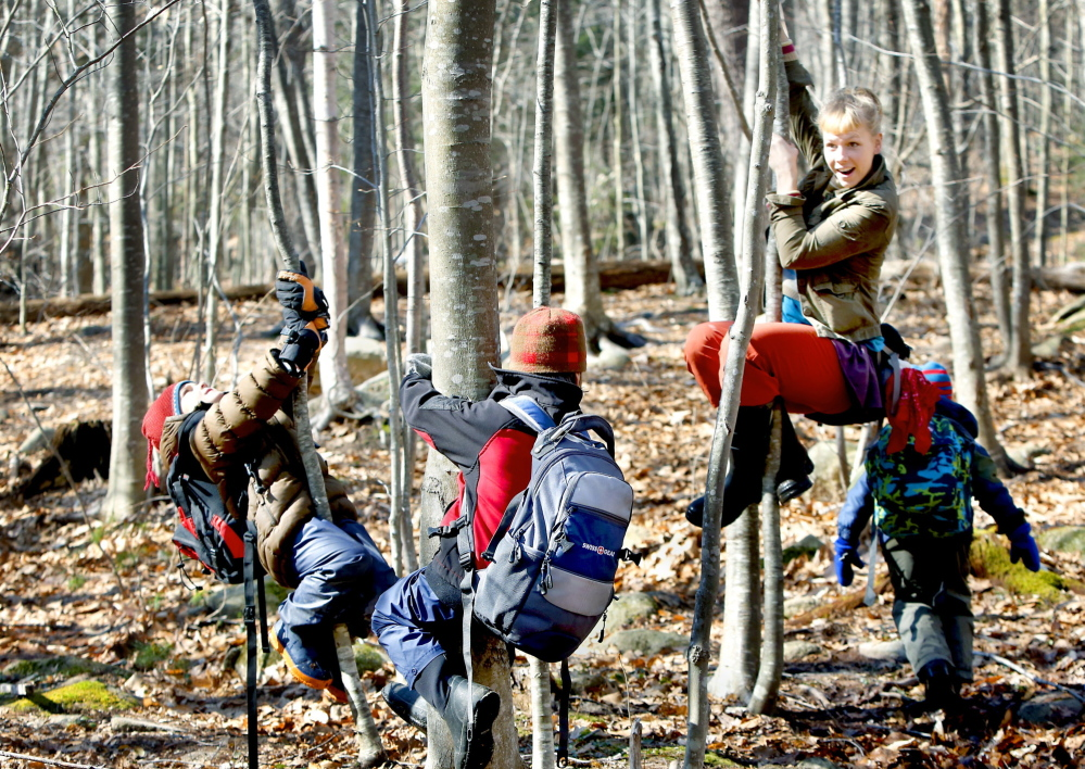 """""""Squirrel Scurry"""" is the game, led by Annika Wisswaesser, right, as Bruno Pincero, left, and Iver Myles follow by clinging to trees and lifting their legs on an expedition through a wooded area of coastal Cape Neddick in York County."""