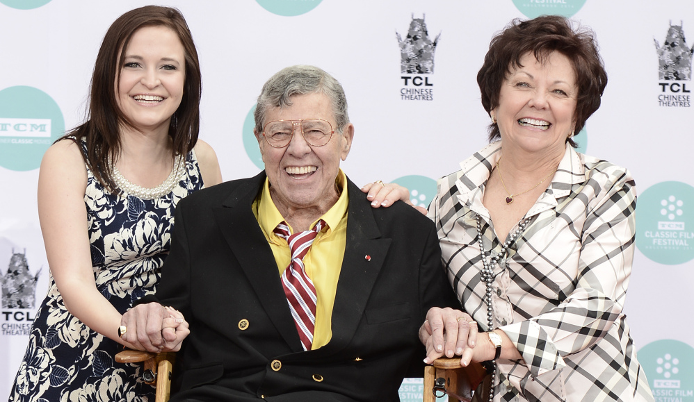 Jerry Lewis, his wife, SanDee Pitnick, right, and his daughter Danielle Lewis pose in Los Angeles on Saturday.