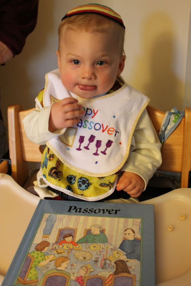 Laura McCandlish's son Theo ready for Passover in 2012
