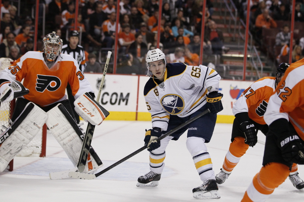 Buffalo Sabres' Brian Flynn plays against the Philadelphia Flyers on April 6 in Philadelphia.