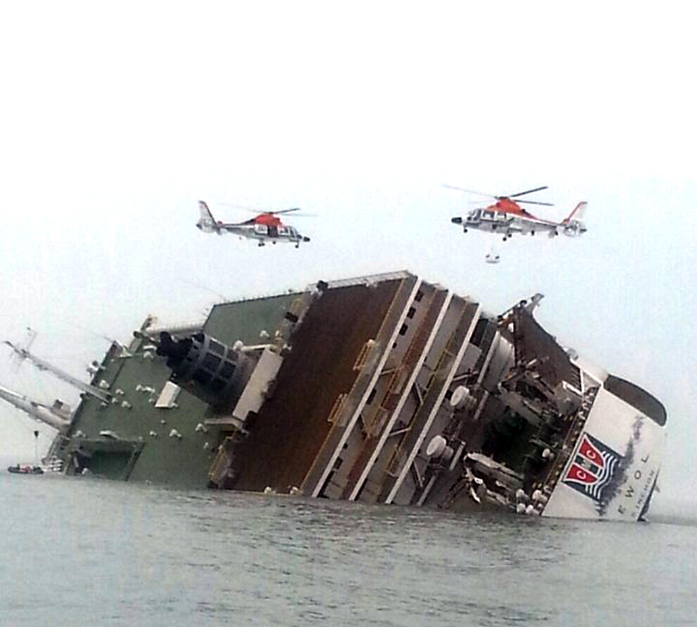 South Korean rescue helicopters fly over a South Korean passenger ship, trying to rescue passengers from the ship in water off the southern coast in South Korea. The ship had 462 people on board, including many high school students.