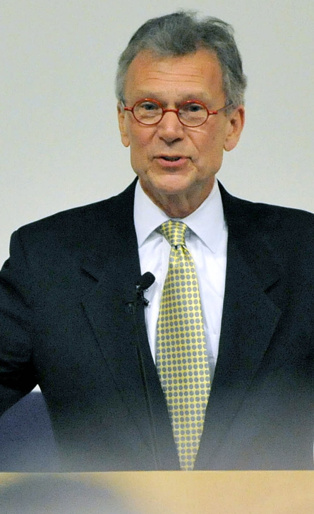 Former U.S. Sen. Tom Daschle of South Dakota delivers the annual George Mitchell International Lecture at Colby College in Waterville on Wednesday.