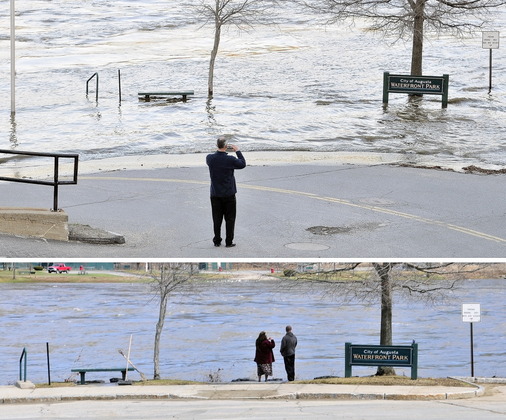 The top photo shows Waterfront Park on Wednesday night, when the water was several feet higher than it was on Thursday afternoon, in the bottom photo.