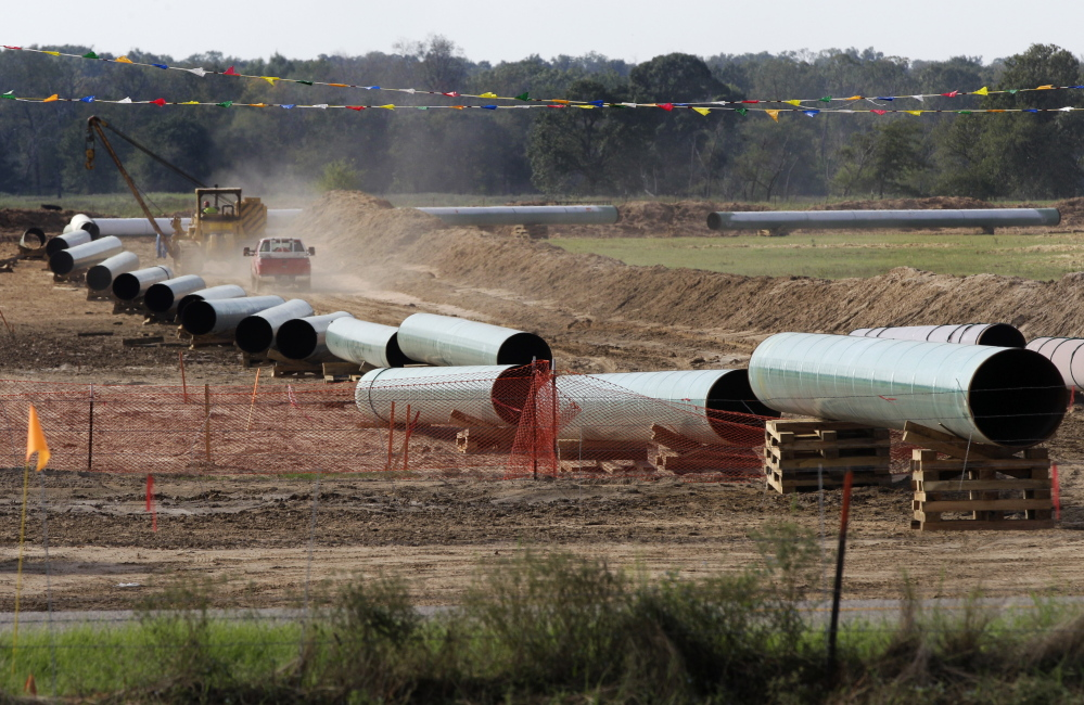 Large sections of pipe that are part of the Keystone XL pipeline are shown in Sumner Texas.