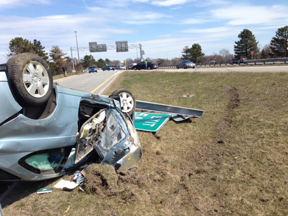 This car overturned when it hit another vehicle during a four-vehicle crash on I-295 in Portland.