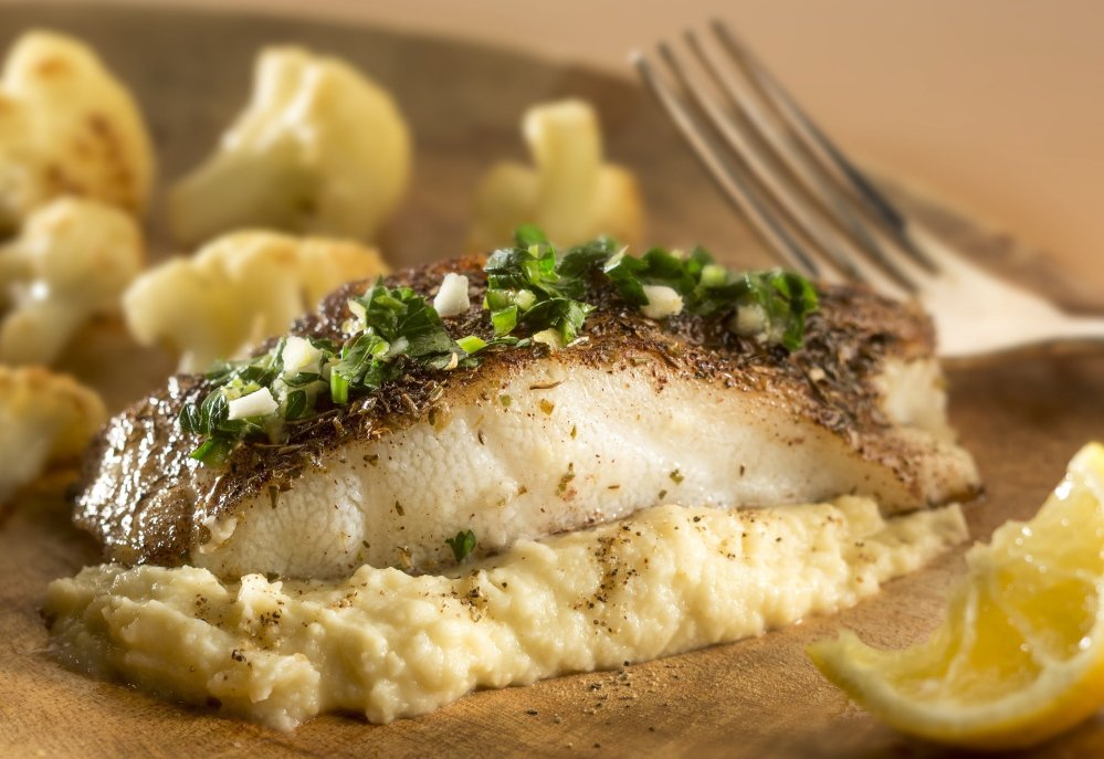 Swordfish with cauliflower puree