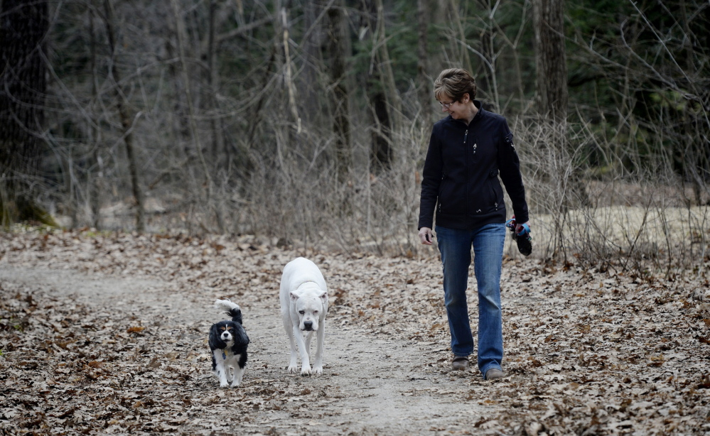 Tammy Riley of Portland walks her dogs Noelle, left, and Sophie off leash during a visit to Baxter Woods on Tuesday. City officials say they want to balance the needs of all of the park's users.