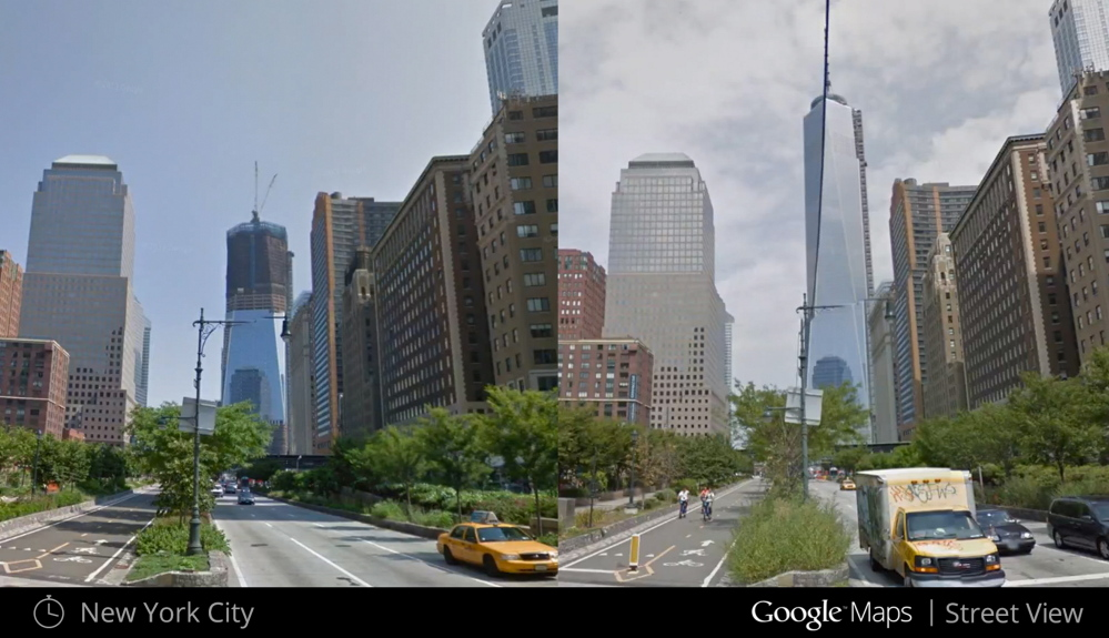 Images from a new Google Maps 'Street View' snapshots feature show the progress of construction on One World Trade Center in New York and make it clear that significant change can be seen in some scenes over just seven years.