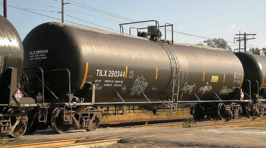 The DOT-111 tank car is considered the workhorse of the American and Canadian rail fleets and makes up about 70 percent of all tankers on the rails. This DOT-111 has a capacity of 30,110 gallons.