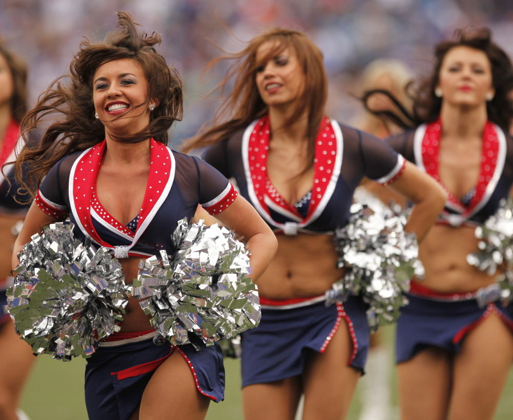 The Buffalo Jills cheerleading squad performs at the NFL football game between the Miami Dolphins and the Buffalo Bills in Orchard Park, N.Y., on Sept. 12, 2010.