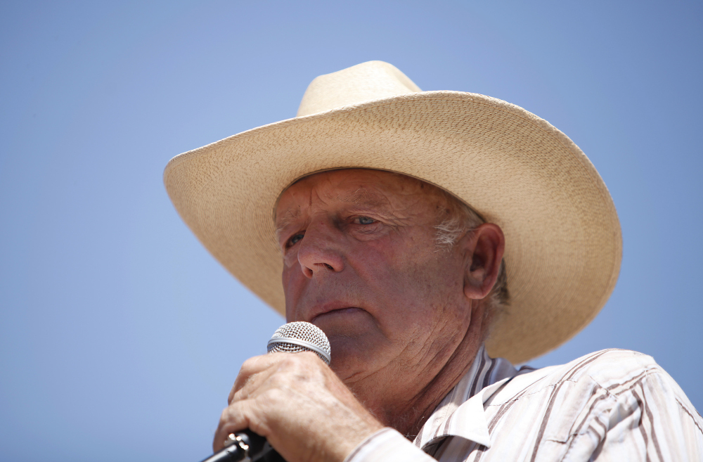 Rancher Cliven Bundy speaks at a news conference near Bunkerville, Nev., on Thursday.