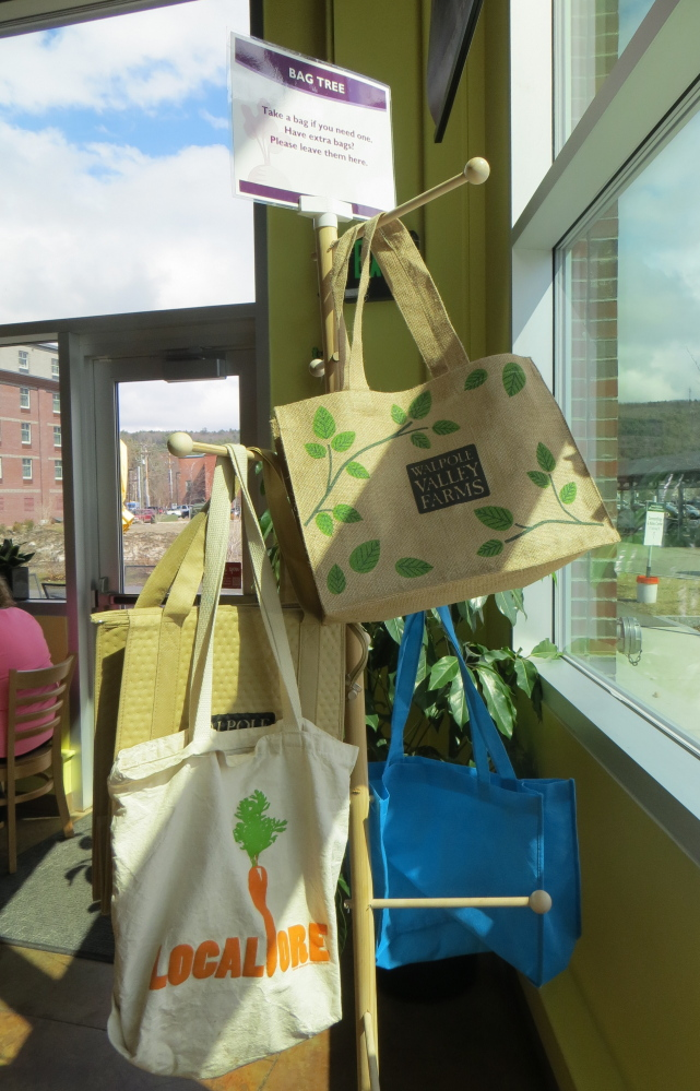 "In New Hampshire, Monadnock Food Coop has created a ""bag tree"" from which people can borrow reusable bags if they forget their own – and return them the next time they shop."