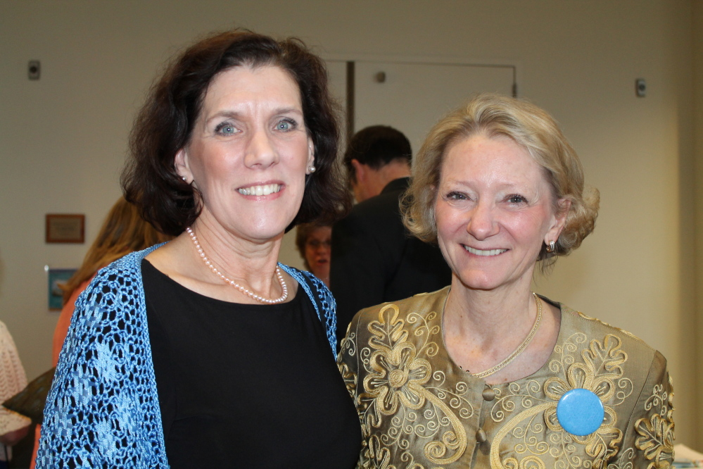 Carolyn Johnson, left, district governor for Rotary District 7780, with president and founder of Partners for World Health Elizabeth McLellan of Portland