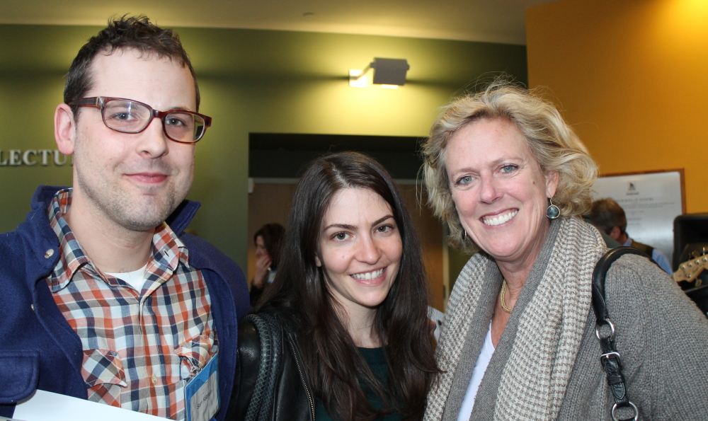 Sam Kilbreth, a freelance film producer in Portland, with his wife Jen DeRose, center, managing editor of Old Port and Linda Banks of Simply Home in Falmouth