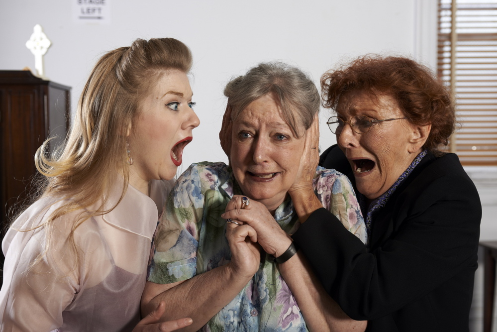 "Melissa, Margaret, and Mary express their emotions in ""The Savannah Disputation"" at Portland Stage Company."