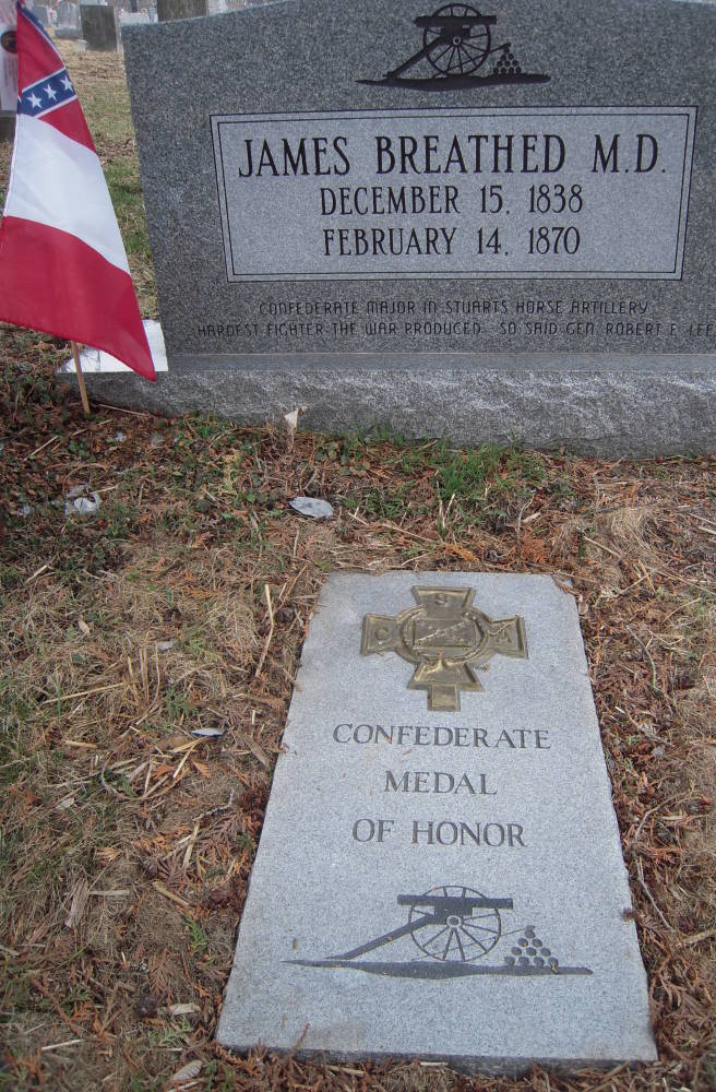 The grave of Confederate Medal of Honor recipient James Breathed in Hancock, Md., is decorated with a stone noting his medal.