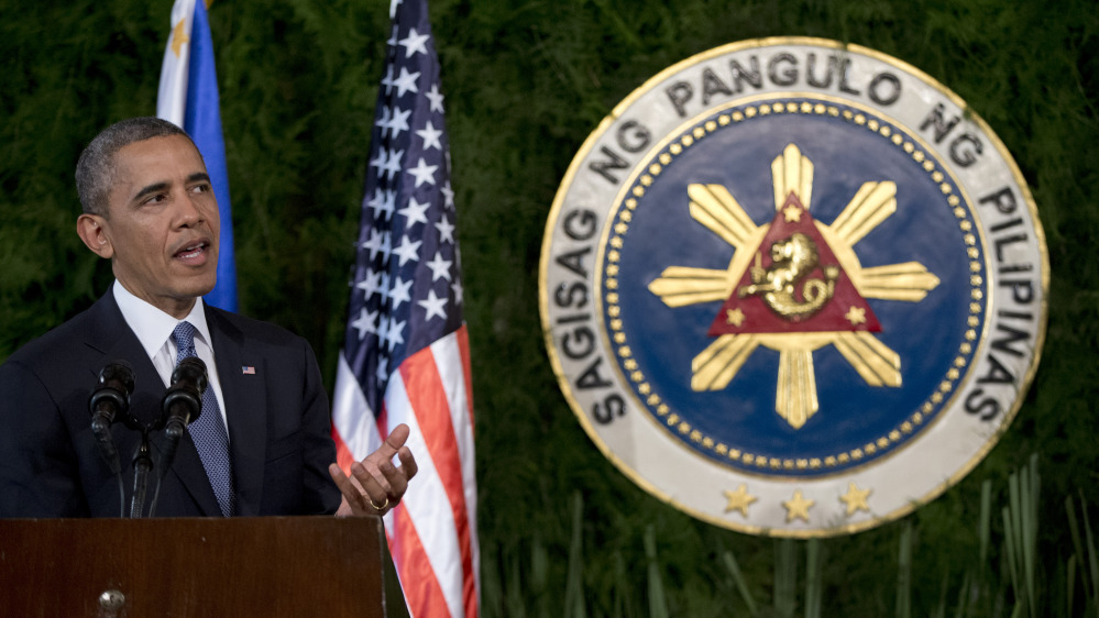 President Obama speaks during a joint news conference Monday with Philippine President Benigno Aquino III at Malacanang Palace in Manila.