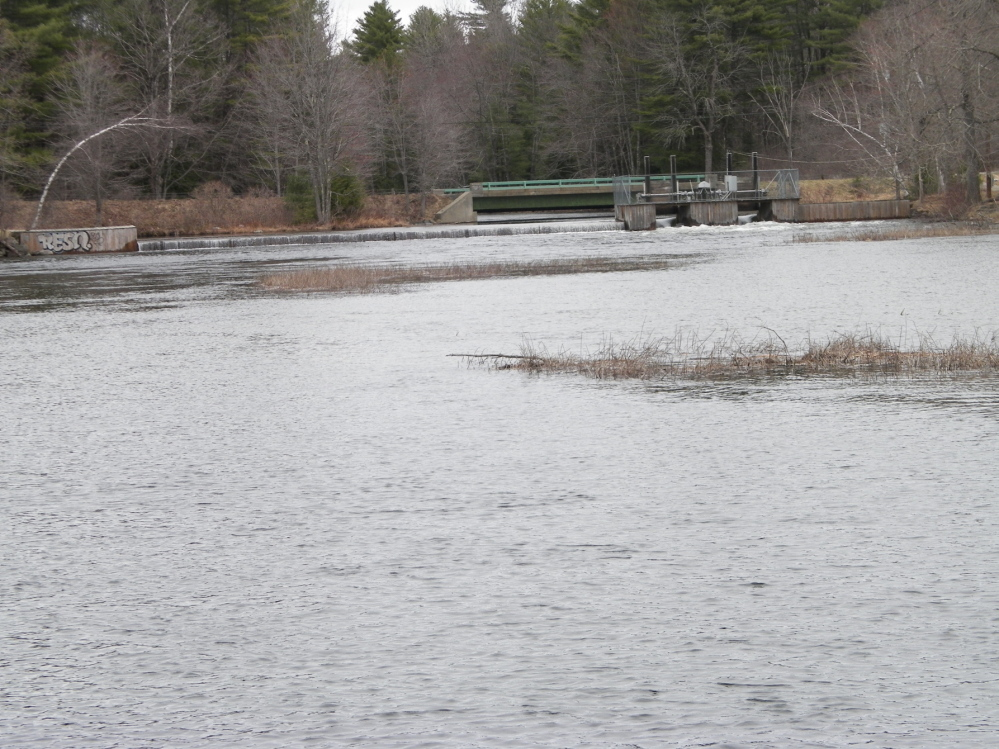Long Pond Storage Dam on Wings Mills Road, where a young boy was pulled from the stream Monday morning.