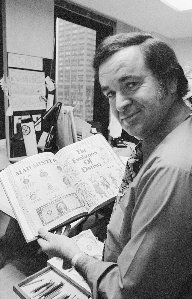 Mad magazine editor Al Feldstein works in his office at the magazine's New York headquarters in 1972. He won a lawsuit brought by Irving Berlin, faced the FBI and built Alfred E. Neuman of