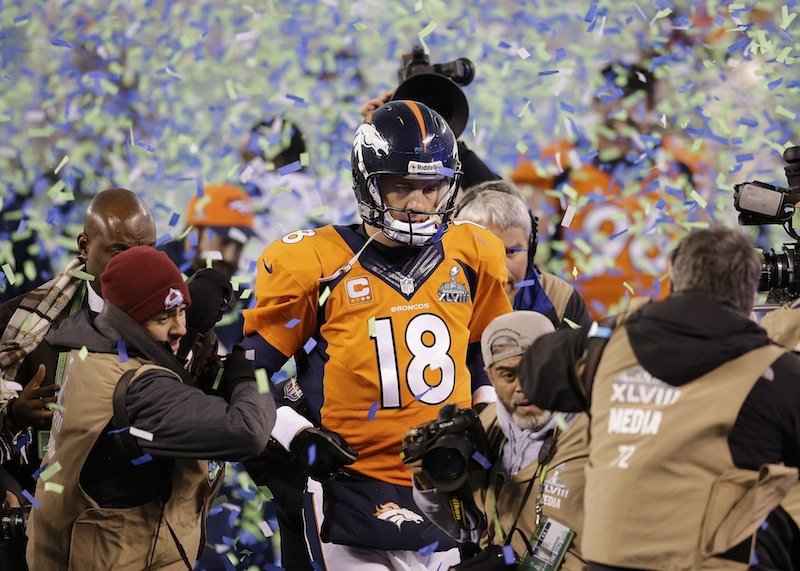 Denver Broncos quarterback Peyton Manning walks off the field Feb. 2 after the Broncos lost to the Seattle Seahawks in Super Bowl XLVIII.