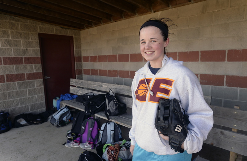 Ashley Tinsman of Cape Elizabeth plays not only high school softball in the spring but also with a traveling club team in the summer. She verbally committed to UMaine in September, as a junior.