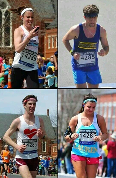 This image posted by Karen Bonneau on Twitter shows four people wearing the same number Bonneau wore during the Boston Marathon.