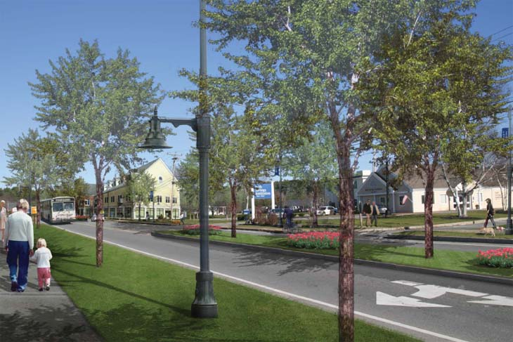 This artist's rendering shows changes along Route 1, including the addition of sidewalks, bicycle paths and underground utility wires.