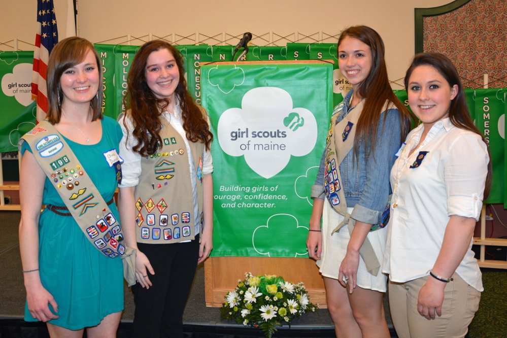 Maine Girl Scouts who received the Gold Award for their Take Action projects are, from left, Olivia Duran of Hampden, Deidre Sachs of Freeport, Paige Rainford of Hampden and Ariel Bouchard of Brunswick. The other recipients were Bailee Bartash of Lincoln, Kelly Bridge of Berwick, Heather Brown of East Orland, Sarah Draper of Caribou and Samantha McGarrigle of Hampden.