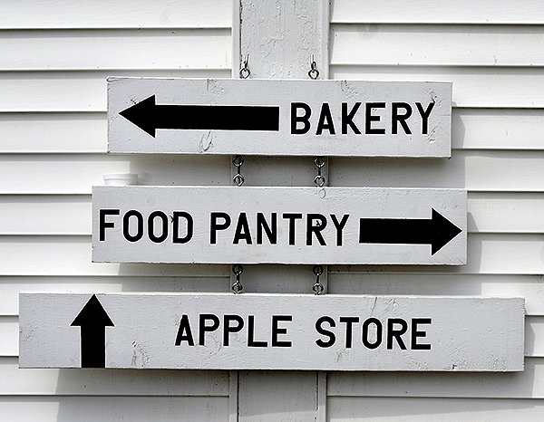 Simple directions are attached to one of the former Shaker buildings on Shaker Hill in Alfred.