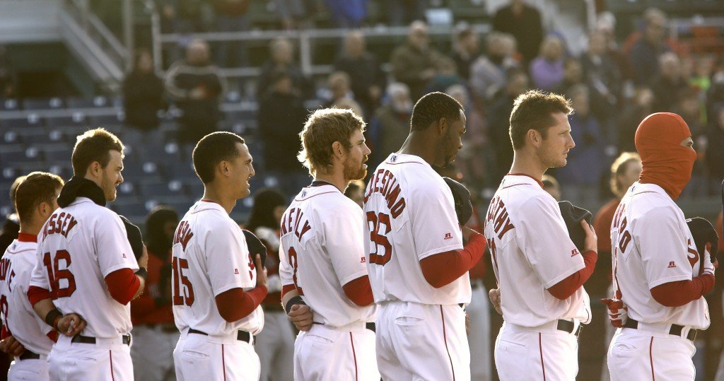 Portland Sea Dogs players line up for opening day ceremonies, Thursday, April 10, before the start of their game against New Britain at Hadlock Field. Derek Davis/Staff Photographer