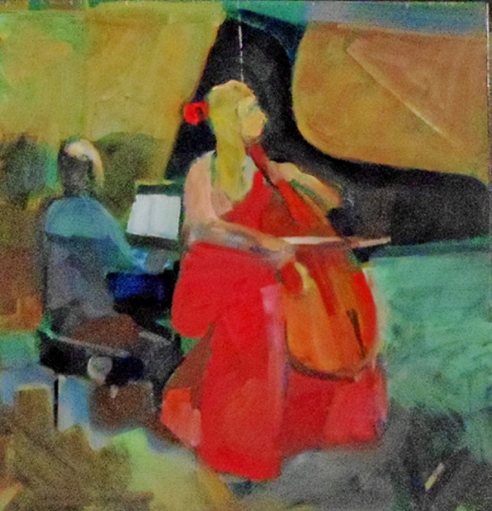 """The Cellist,"" by Ed Douglas, from his exhibition at Greenhut Galleries in Portland."