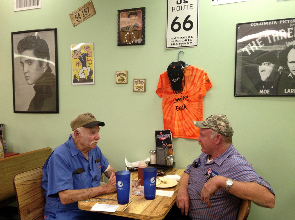 "F.D. Sexton, left, says of the death penalty: ""It's like the Lord said: You reap what you sow."" At right is his son Brett Sexton Thursday at the Boomarang Diner in Checotah, Okla."