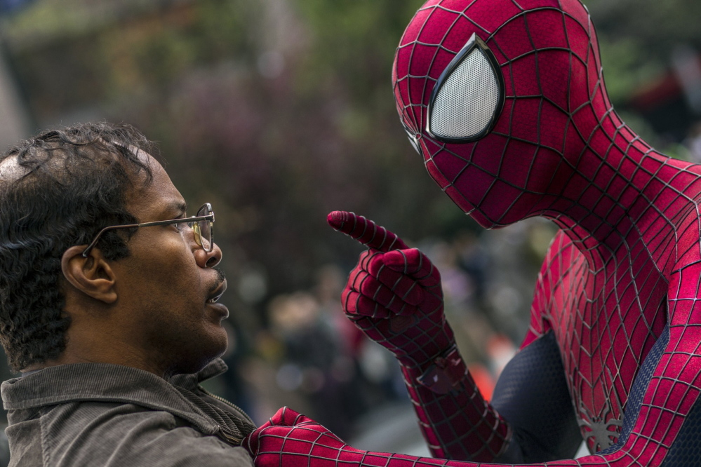 "Jamie Foxx and Andrew Garfield square off in ""The Amazing Spider-Man 2."""