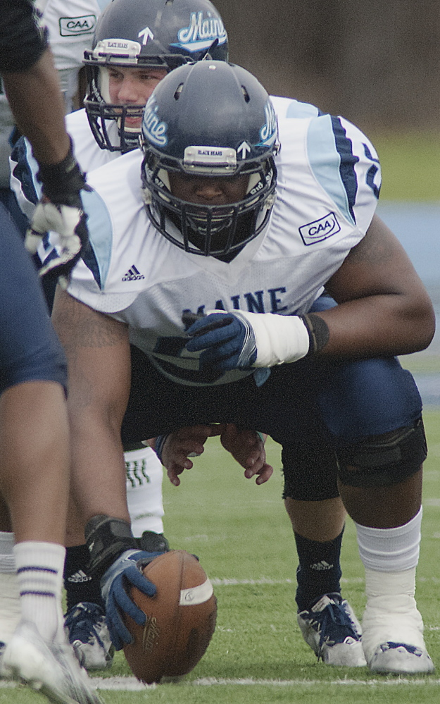 Center Bruce Johnson, a junior, will be the anchor of a revamped offensive line for the University of Maine next season.