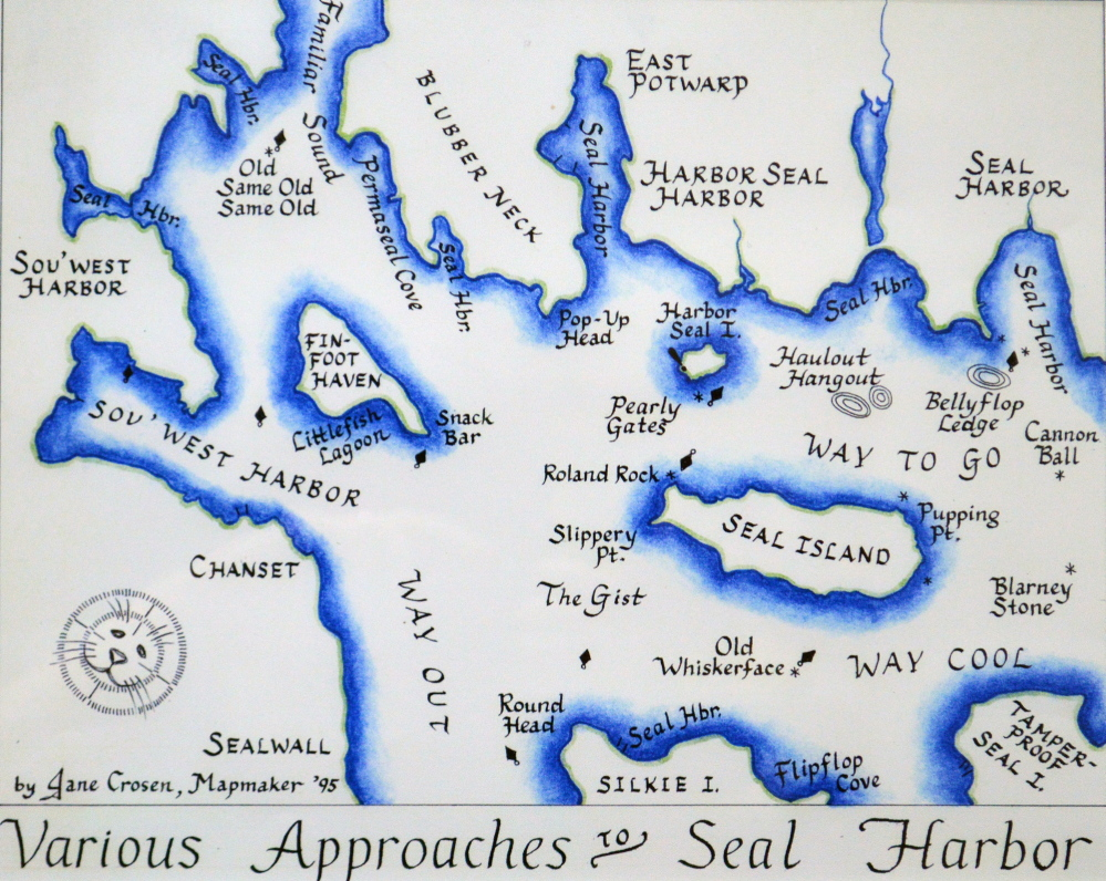 """Jane Crosen, """"Various Approaches to Seal Harbor,"""" ink on paper, 1995"""