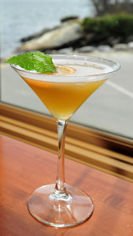 Dockside's Bay Blossom martini is made with Mandarin and jasmine green tea-infused vodka with lemon and honey.