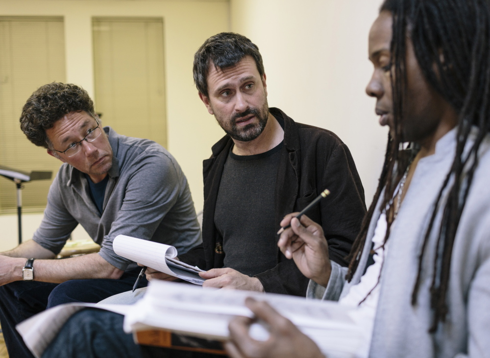 "Daniel Sonenberg, center, discusses the rehearsal of the Portland Ovations concert production of ""The Summer King"" with director Lemuel Wade and conductor Steven Osgood in New York City on April 29, 2014."