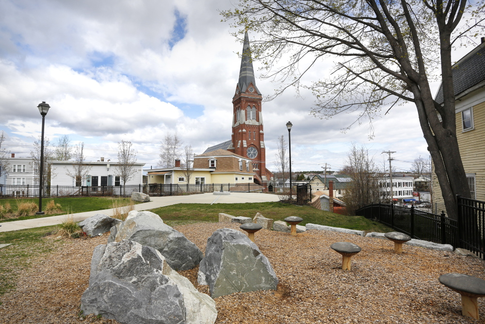 Williams Court Park at the corner of Green and South streets is close to downtown Biddeford. Neighbors will have more green space once a design for an expanded park is approved and the work is done. Councilors are scheduled to vote Tuesday on the design.
