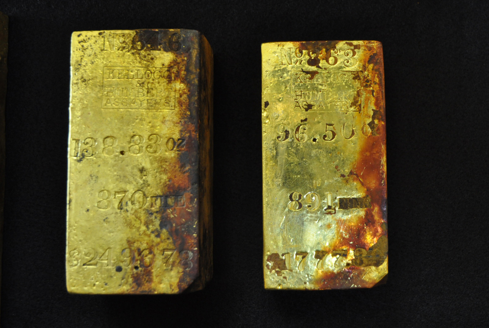 Gold bars recovered from the wreck of the S.S. Central America off the South Carolina coast are seen in this April 15, 2014, photograph provided by Odyssey Marine Exploration Inc.