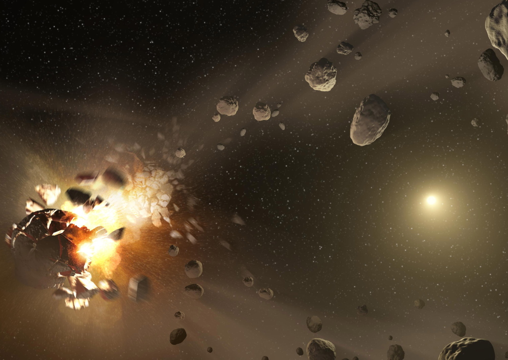 An asteroid family is born, above. NASA scientists, concerned that only 1 percent of the asteroids in our solar system have been found, have launched a series of contests to pick Earthlings' brains for ideas on how to detect and track them. Ten contests are planned this year.